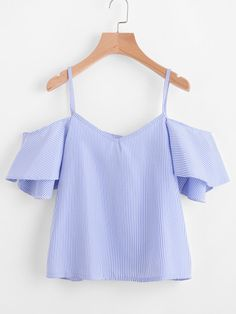 2017 Women Summer Nylon Shirt Cold Shoulder Blue Pinstripe Cute Ruffle Slip Tops Fashion New Sexy Cut Out V Neck Blusas Cheap Tank Tops, Loose Tank Tops, Crop Tops, White Cold Shoulder Top, Shoulder Tops, Cold Shoulder Top Outfit, Off The Shoulder, Top Mode, Flutter Sleeve Top
