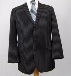 Dolce & Gabbana Blazer 40R Black Virgin Wool Striped Vented 3 Button Sport Coat #DolceGabbana #ThreeButton