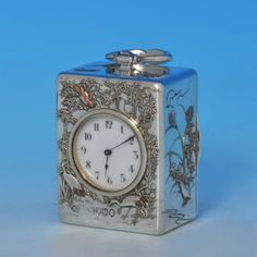 ❤ -  Victorian Sterling Silver Clock, hallmarked London 1879, by Walter Thornhill & Co.