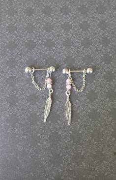 HANDMADE, UNIQUE! :) Feathers 14G Nipple Barbells set of 2 nipple by SubtleDistinctions, $16.00 #nipple #barbell #14g #16g #piercings #bodyjewelry #nipples
