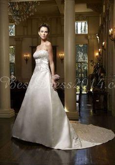 Satin A-line Embroidery Strapless Sleeveless Long Wedding Dress