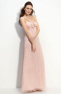 Amsale Pink Blush Bow Front One Shoulder Chiffon Gowndress Wedding Bridesmaid 10 | eBay