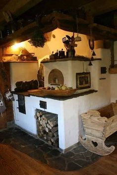 Rustic Outdoor Spaces, Cedar Table, Stair Shelves, Stove Top Oven, Outdoor Oven, Rustic Kitchen Design, Tiny House Cabin, Rocket Stoves, Vintage Interiors
