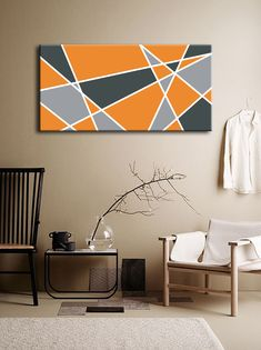 Geometric Art Orange Gray Abstract Triangles Painting . Art customizable: write me, and I create this art with your favorite colors