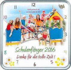 Kindergarten Abschiedsgeschenk - Hochwertige eckige Fotouhr mit Alurahmen und geräuscharmen Uhrwerk