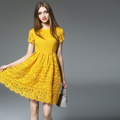 Yellow Pink Lace Dresses Runway Dress young girls Women's Short Sleeve Fashion Casual Dress JS-RC-0012 *** See this great product.