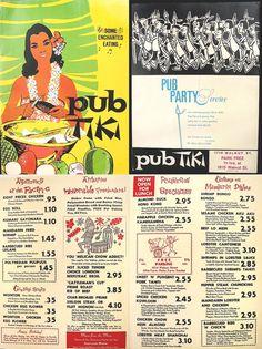 Pub Tiki menu c. 1970s
