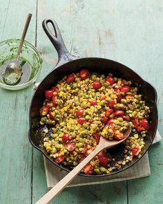 Skillet Corn, Edamame, and Tomatoes with Basil Oil Recipe