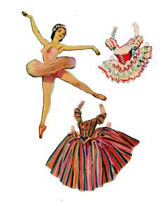 Vintage Ballet Paper Dolls PDF Digital Download by TheVintageMoth