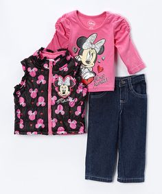 Love this Pink & Black Minnie Mouse Vest Set - Infant by Minnie's Bow-Tique on #zulily! #zulilyfinds