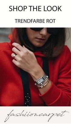 Zwei Mal im Jahr werden die neusten Trends auf den Laufstegen der Welt von den Designern präsentiert. Und dann? Neben jeder Menge Inspiration stellt man sich dann vor allem die Frage: Und wie trage ich das alles? Genau deswegen habe ich mir überlegt eine Fashiioncarpet Trend Woche zu machen. Dafür habe ich mir 5 der größten und schönsten Herbst & Winter Trends 2017 herausgepickt und im Alltag für euch umgesetzt. #red #trend #color #shopthelook Winter Trends, Neue Trends, Fitbit, Inspiration, Shopping, Clothes, Fashion, Outfit, Accessories