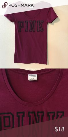 VS PINK burgundy t-shirt Burgundy crew neck shirt. I would say fits more like an xs but it is a size small but tight. Not too snug but tight fit. Great condition PINK Victoria's Secret Tops Tees - Short Sleeve