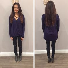 The simple criss-cross detailing on the neckline is all this navy top needs to stand out from the rest! - $29 #winterfashion #winter #ontrend #fashionista #shoplocal #aldm #apricotlaneboutique #apricotlanedesmoines #shopaldm #desmoines #valleywestmall #fashion #apricotlane #newarrival #sweaterweather #shopalb  #ootd #westdesmoines #shopaldm #shopapricotlaneboutiquedesmoines #ontrend