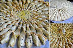 Juste histoire de goûter: Feuilletés torsadés Préchauffez le four à 180°C.Déroulez la 1ère pâte feuilletée et étalez le pesto (ou saumon, boursin, tapenade, etc...) Piquez la 2ème pâte et recouvrez la 1 ère. Marquez un rond au milieu avec un petit verre sans couper la pâte. Partagez en 4, puis en 8, en 16 et encore une fois chaque bande afin d'obtenir 32 bandes.Torsadez chacune des bandes. Dorez à l'oeuf avec un pinceau et parsemez de sésames ou non. Enfournez 20 à 25mn.
