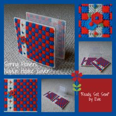 """Plastic Canvas: Spring Flowers Napkin Holder Cover (Design No."""" by Evie (Etsy) Plastic Canvas Crafts, Plastic Canvas Patterns, Lazy Daisy Stitch, Button Flowers, Sewing A Button, Evie, Spring Flowers, Fourth Of July, Cover Design"""