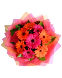 Online delivery of Beautiful flowers . Three layers packing of 12 Assorted Gerberas