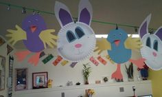 Easter bunny plates and baby chicks toddler craft