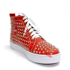 Christian Louboutin Louis Studded High Top Sneakers Red