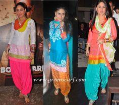 Punjabi suit and Patiala styles of Kareena kapoor and Alia Bhatt in UDATA PUNJAB - Indian Pakistani Latest Ethnic Fashion Trends Of Ladies Wear Indian Suits, Indian Attire, Indian Dresses, Indian Wear, India Fashion, Ethnic Fashion, Asian Fashion, Classy Fashion, Women's Fashion
