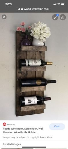 Handcrafted and high quality! Wall mounted wooden wine rack and wine bottle display holder. Stylish way to hang your wine bottles and prevent dry corking! Would be great as a housewarming gift, wedding gift, or used in your own home in your kitchen, above Wine Bottle Display, Wine Bottle Holders, Wine Bottles, Wine Corks, Wine Decanter, Wine Rack Design, Rustic Wine Racks, Wooden Wine Holder, Wine Rack Wall