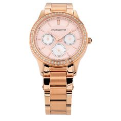 Stay on trend and on time with this stylish rose tone multifunction watch. Featuring a large dial including day, date and 24 hour indicators, all framed by cubic zirconia set on the bezel, this watch can hardly fail to impress. You will turn heads. 21st Gifts, Diamond Are A Girls Best Friend, Stainless Steel Watch, Other Accessories, Gold Watch, Chronograph, Rolex Watches, Bracelet Watch, Gifts For Her
