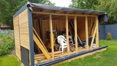 Our new garden house / workshop – Heimwerker-Helden.de - All For Garden Cheap Log Cabins, Diy Log Cabin, Modern Log Cabins, Small Log Cabin, Log Cabin Homes, Dream Master Bedroom, Building Sand, Home Improvement Show, Kitchen Floor Plans