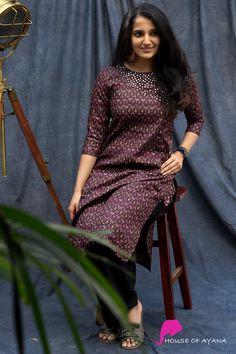 Mirrored Dawn Kurti - House of Ayana Silk Kurti, Silk Sarees, Salwar Neck Designs, Kalam Quotes, Saree Models, Beautiful Girl Indian, Sleep Shirt, Blouse Dress, Nature Wallpaper