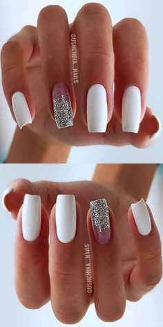 Want some ideas for wedding nail polish designs? This article is a collection of our favorite nail polish designs for your special day. Read for inspiration Bright Nail Designs, Square Nail Designs, Short Nail Designs, White Nails, Pink Nails, My Nails, Nail Polish Designs, Nails Design, Wedding Nail Polish
