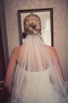 wedding hair #wedding www.brayola.com... Not the hair, but I like how veil is low.