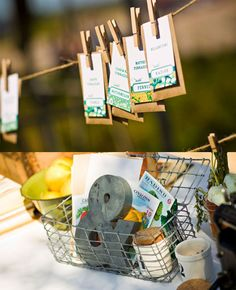 Could hang on washing line like this . . . Would be easy to make up artwork and then print on label to put over seed packet or print directly onto envelope