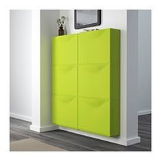 """TRONES Shoe/storage cabinet, green - 20 1/8x15 3/8x7"""" - IKEA, $40/3 pk.  Come in white, black & blue.  Use in entry, on either side of kitch doorway, by DR slider, DR/garage wall, guest room, master, bathrooms."""