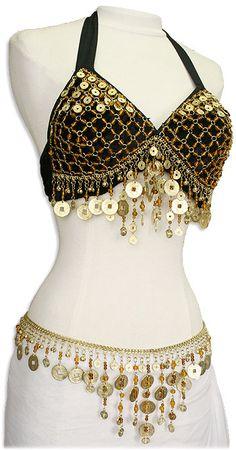 Black Velvet Crochet Coin Bra Top Gold & Coin Belt Set - At DancingRahana.com