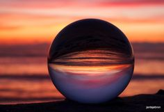 Crystal ball with a colorful sunset