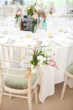 Limewashed chiavari chairs with sage green seat pads Green Seat Pads, Ceremony Decorations, Table Decorations, Country Garden Weddings, Chiavari Chairs, English Country Gardens, Park Weddings, Pretty Pastel, House In The Woods