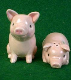 Vintage Pink Pigs w Roses Salt Pepper Shakers