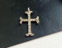 Pave Diamond Charm Pendant Diamond Cross 925 by gemsforjewels