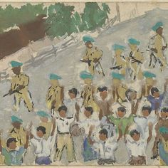 Mensen als schild tegen het Nederlandse leger bij de binnenkomst in Jogyakarta, Mohammad Toha Adimidjojo, 1948 - 1949 - Rijksmuseum