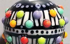 Stripey Pop Dot Big BallHandmade Lampwork Glass by BeadygirlBeads