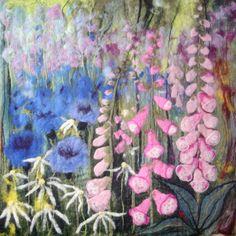 Foxgloves and Cornflowers. Wet felting by LIz Emery. Crewel Embroidery Kits, Embroidery Patterns, Felt Wall Hanging, Felt Pictures, Needle Felting Tutorials, Textile Fiber Art, Wool Art, Needle Felted Animals, Nuno Felting