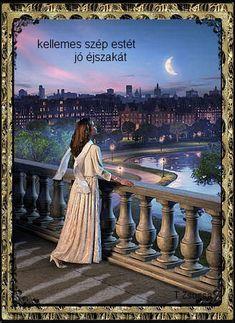 Beautiful Artwork, Beautiful Images, Romantic Girl, Traditional Art, Magick, Good Night, Moonlight, Book Art, Scenery