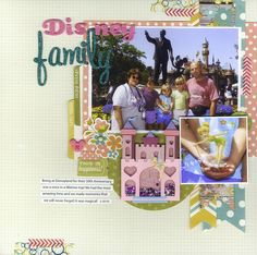 #papercraft #scrapbook #layout. Disney Family - Scrapbook.com - Use non traditional Disney colors to make a Disney layout that coordinates with your photos.