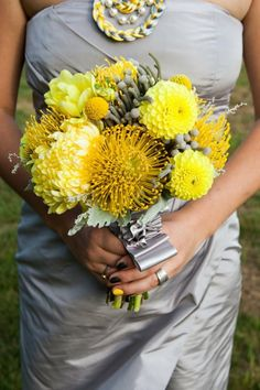 Yellow Wedding Bouquets with yellow protea, dahlia, and football mum