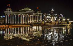 Capital of Macedonia, Skopje, on a rainy night.
