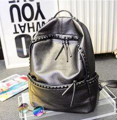 2016New Fashion Women Backpacks Rivet Black Soft Washed Leather Shoulder Schoolbags For Girls Female Travel Bag+Free shipping