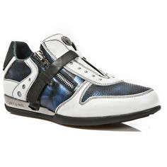 White & Blue Leather Hybrid Dress Shoes *May take up to 45 - 50 Days to Receive*-Quality White & Blue leather dress shoes. Easy comfortable zip and velcro fastener. Metal on the heels. Available in all Unisex Sizes. Leather Dress Shoes, Dress With Sneakers, Baby Shoes, Black Leather, Blue And White, Unisex, Zip, Rock, Batu
