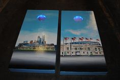 This custom hand painted cornhole game board set comes w/ blue LED's