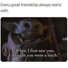 Cute Memes, Funny Cute, Funny Jokes, Hilarious, Funny Meems, Friendship Memes, Yoda Funny, Joker Card, Laughing Quotes