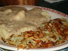 """Biscuits and gravy with hash browns."" Must have read my mind. Biscuits And Gravy, Hash Browns, Yum Yum, Dawn, Breakfast Recipes, Folk, Favorite Things, Brunch, Southern"