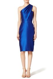 Sleek Cobalt Sheath by ML Monique Lhuillier. I actually DID rent this for a friend's black tie wedding and it looked AMAZING on.