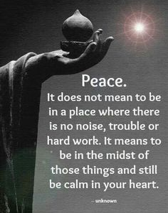 Peace. It does not mean to be in a place where there is no noise, trouble or…